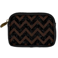 Chevron9 Black Marble & Dark Brown Wood (r) Digital Camera Cases by trendistuff
