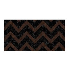 Chevron9 Black Marble & Dark Brown Wood (r) Satin Wrap by trendistuff
