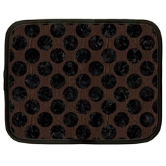 Circles2 Black Marble & Dark Brown Wood Netbook Case (large) by trendistuff