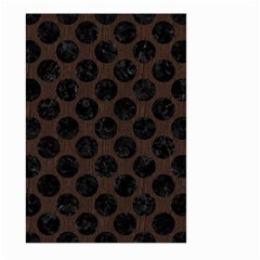Circles2 Black Marble & Dark Brown Wood Large Garden Flag (two Sides) by trendistuff