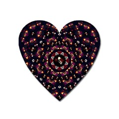 Floral Skulls In The Darkest Environment Heart Magnet by pepitasart