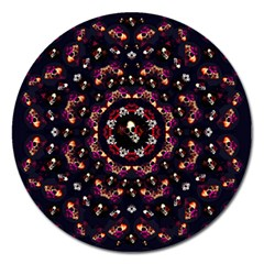 Floral Skulls In The Darkest Environment Magnet 5  (round) by pepitasart