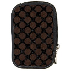 Circles2 Black Marble & Dark Brown Wood (r) Compact Camera Cases by trendistuff