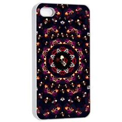Floral Skulls In The Darkest Environment Apple Iphone 4/4s Seamless Case (white) by pepitasart