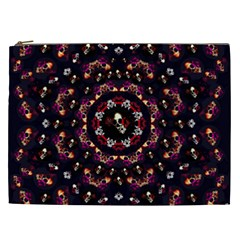 Floral Skulls In The Darkest Environment Cosmetic Bag (xxl)  by pepitasart