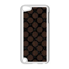 Circles2 Black Marble & Dark Brown Wood (r) Apple Ipod Touch 5 Case (white) by trendistuff
