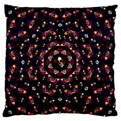 Floral Skulls In The Darkest Environment Large Flano Cushion Case (two Sides) by pepitasart