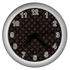 Circles3 Black Marble & Dark Brown Wood Wall Clocks (silver)  by trendistuff
