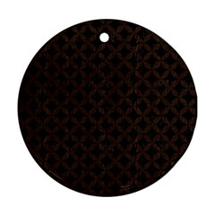 Circles3 Black Marble & Dark Brown Wood (r) Round Ornament (two Sides) by trendistuff