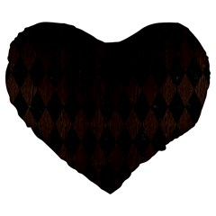 Diamond1 Black Marble & Dark Brown Wood Large 19  Premium Heart Shape Cushions by trendistuff
