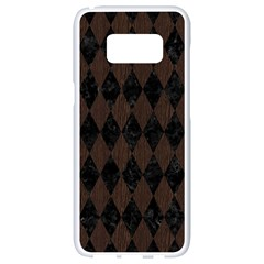 Diamond1 Black Marble & Dark Brown Wood Samsung Galaxy S8 White Seamless Case by trendistuff