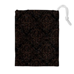 Damask1 Black Marble & Dark Brown Wood (r) Drawstring Pouches (extra Large)