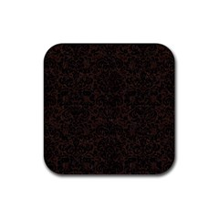 Damask2 Black Marble & Dark Brown Wood Rubber Square Coaster (4 Pack)  by trendistuff
