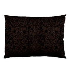 Damask2 Black Marble & Dark Brown Wood (r) Pillow Case by trendistuff
