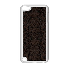 Damask2 Black Marble & Dark Brown Wood (r) Apple Ipod Touch 5 Case (white) by trendistuff