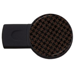 Houndstooth2 Black Marble & Dark Brown Wood Usb Flash Drive Round (2 Gb) by trendistuff