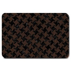 Houndstooth2 Black Marble & Dark Brown Wood Large Doormat  by trendistuff