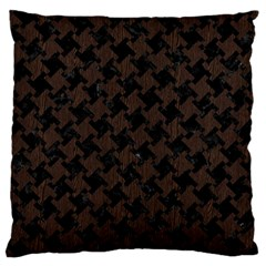 Houndstooth2 Black Marble & Dark Brown Wood Large Cushion Case (two Sides) by trendistuff