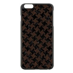 Houndstooth2 Black Marble & Dark Brown Wood Apple Iphone 6 Plus/6s Plus Black Enamel Case by trendistuff