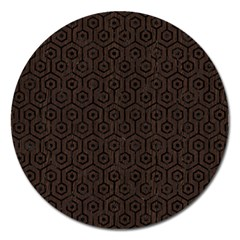 Hexagon1 Black Marble & Dark Brown Wood Magnet 5  (round)