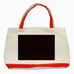 Hexagon1 Black Marble & Dark Brown Wood Classic Tote Bag (red) by trendistuff