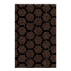 Hexagon2 Black Marble & Dark Brown Wood Shower Curtain 48  X 72  (small)  by trendistuff