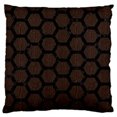 Hexagon2 Black Marble & Dark Brown Wood Large Flano Cushion Case (one Side) by trendistuff