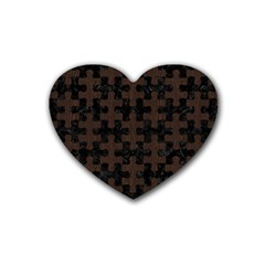 Puzzle1 Black Marble & Dark Brown Wood Heart Coaster (4 Pack)  by trendistuff