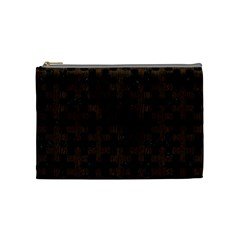 Puzzle1 Black Marble & Dark Brown Wood Cosmetic Bag (medium)  by trendistuff