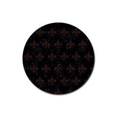 Royal1 Black Marble & Dark Brown Wood Rubber Coaster (round)  by trendistuff