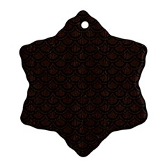 Scales2 Black Marble & Dark Brown Wood Snowflake Ornament (two Sides) by trendistuff
