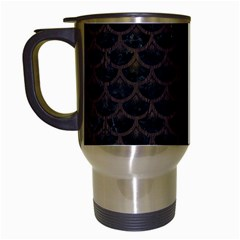 Scales3 Black Marble & Dark Brown Wood (r) Travel Mugs (white) by trendistuff
