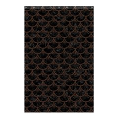 Scales3 Black Marble & Dark Brown Wood (r) Shower Curtain 48  X 72  (small)