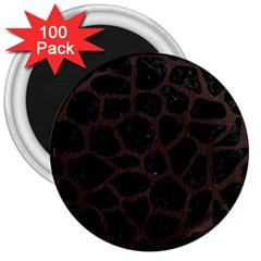 Skin1 Black Marble & Dark Brown Wood 3  Magnets (100 Pack) by trendistuff