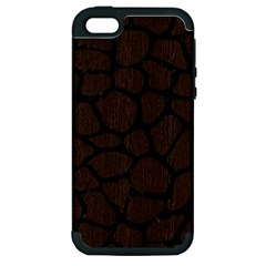 Skin1 Black Marble & Dark Brown Wood (r) Apple Iphone 5 Hardshell Case (pc+silicone)