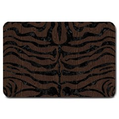 Skin2 Black Marble & Dark Brown Wood Large Doormat  by trendistuff
