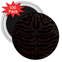 Skin2 Black Marble & Dark Brown Wood (r) 3  Magnets (100 Pack) by trendistuff