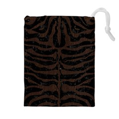 Skin2 Black Marble & Dark Brown Wood (r) Drawstring Pouches (extra Large) by trendistuff