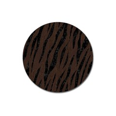 Skin3 Black Marble & Dark Brown Wood Magnet 3  (round) by trendistuff