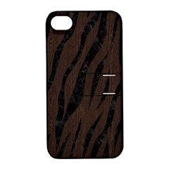 Skin3 Black Marble & Dark Brown Wood Apple Iphone 4/4s Hardshell Case With Stand by trendistuff