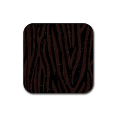 Skin4 Black Marble & Dark Brown Wood Rubber Coaster (square)  by trendistuff