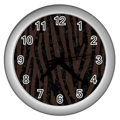 Skin4 Black Marble & Dark Brown Wood Wall Clocks (silver)  by trendistuff