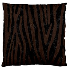 Skin4 Black Marble & Dark Brown Wood Large Cushion Case (two Sides) by trendistuff