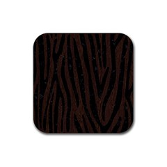 Skin4 Black Marble & Dark Brown Wood (r) Rubber Square Coaster (4 Pack)  by trendistuff