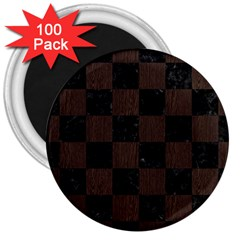 Square1 Black Marble & Dark Brown Wood 3  Magnets (100 Pack) by trendistuff