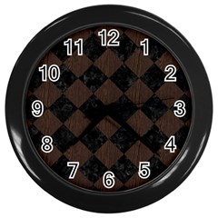 Square2 Black Marble & Dark Brown Wood Wall Clocks (black) by trendistuff