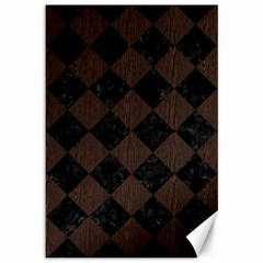 Square2 Black Marble & Dark Brown Wood Canvas 12  X 18   by trendistuff