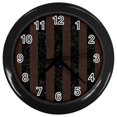 Stripes1 Black Marble & Dark Brown Wood Wall Clocks (black) by trendistuff