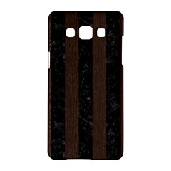 Stripes1 Black Marble & Dark Brown Wood Samsung Galaxy A5 Hardshell Case  by trendistuff