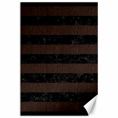Stripes2 Black Marble & Dark Brown Wood Canvas 12  X 18   by trendistuff